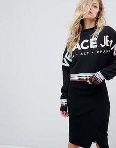 Укороченный оверсайз-свитшот с логотипом Versace Jeans - Черный