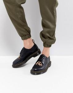 Туфли на шнуровке с леопардовыми сердечками Dr.Martens Joyce - Черный