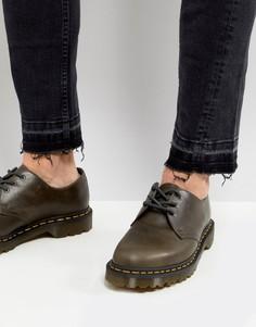 Серо-коричневые ботинки с 3 парами люверсов Dr Martens 1461 - Коричневый