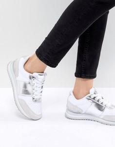 Белые кроссовки с серебристыми вставками Calvin Klein Tanya - Белый