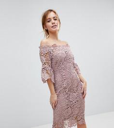 Ажурное платье миди с оборками на рукавах Paper Dolls Petite - Розовый