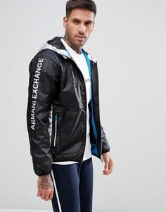 Черная куртка с капюшоном и серебристой отделкой Armani Exchange - Черный