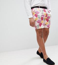 Розовые строгие зауженные шорты с цветочным принтом ASOS PLUS Wedding - Розовый