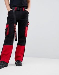 Черные брюки карго с контрастными вставками Granted - Черный