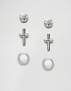 Набор серебристых сережек-гвоздиков с камнями Chained & Able - Серебряный