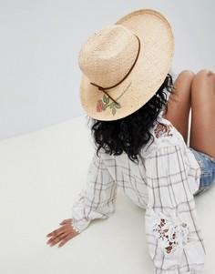 Соломенная шляпа-федора с принтом розы Brixton - Бежевый