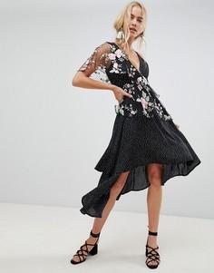 Асимметричное платье миди на бретелях в горошек с цветочным кружевом ASOS DESIGN - Мульти