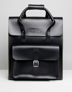 Кожаный рюкзак с желтой строчкой Dr Martens - Черный
