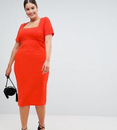 Облегающее платье миди ASOS DESIGN Curve - Красный