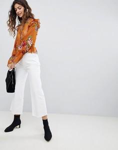 Укороченные джинсы с широкими штанинами Miss Selfridge - Синий