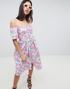 Платье миди на пуговицах с открытыми плечами и цветочным принтом ASOS DESIGN - Мульти
