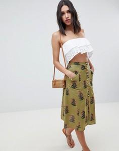 Зеленая юбка-трапеция миди с пуговицами и цветочным принтом ASOS DESIGN - Мульти