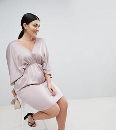 Платье мини с глубоким вырезом ASOS DESIGN Curve - Розовый