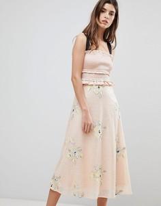 Платье миди с оборкой Three Floor - Розовый