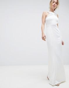 Декорированное платье макси с открытой спиной Little Mistress - Белый