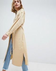 Платье-рубашка в стиле oversize ASOS WHITE - Светло-бежевый