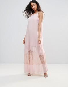 Полупрозрачное платье миди А-силуэта с кружевным низом BCBG - Розовый