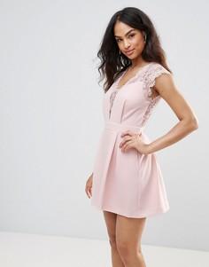 Коктейльное платье с кружевными вставками BCBG - Розовый