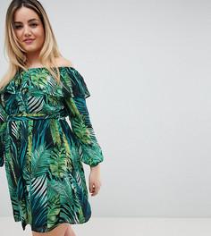 Платье со спущенными плечами и тропическим принтом Lovedrobe - Мульти