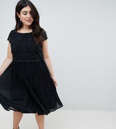 Платье с кружевным топом и юбкой со складками Lovedrobe - Черный