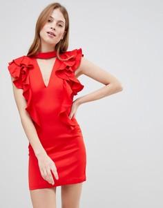 Платье с чокером и оборками Glamorous - Красный