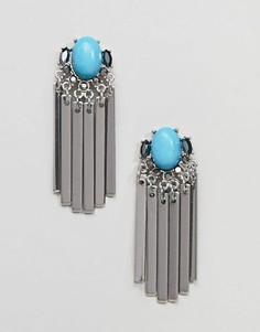 Металлические серьги-кисточки с камнями ASOS DESIGN - Серебряный