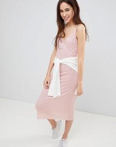 Платье миди в рубчик с глубоким вырезом на спине Brave Soul Ella - Розовый
