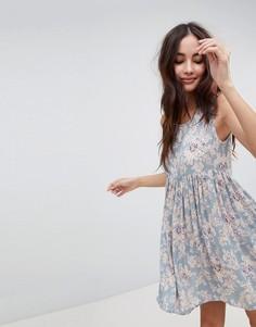 Свободное платье с винтажным цветочным принтом Brave Soul Faye - Синий
