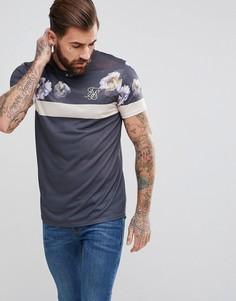 Серая облегающая футболка с цветочным принтом на вставке SikSilk - Черный