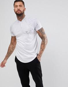 Белая обтягивающая футболка с короткой молнией SikSilk - Белый