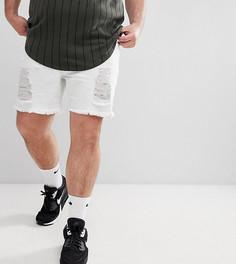 Белые облегающие джинсовые шорты с рваной отделкой SikSilk PLUS эксклюзивно для ASOS - Белый
