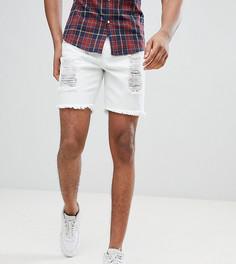 Белые облегающие джинсовые шорты с рваной отделкой SikSilk TALL эксклюзивно для ASOS - Белый