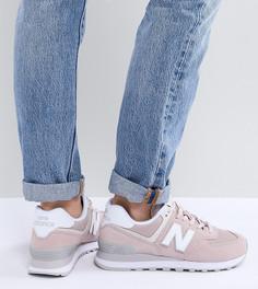 Розовые замшевые кроссовки New Balance 574 - Розовый