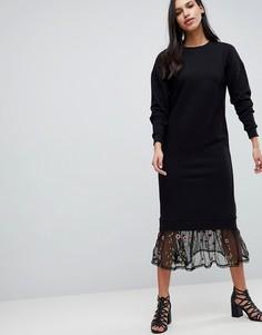 Трикотажное платье макси с вышивкой на сетчатой отделке по краю ASOS DESIGN - Черный