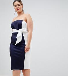 Платье-бандо миди в стиле колор блок ASOS DESIGN Curve - Мульти