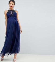 Платье макси с высоким воротом и аппликацией Little Mistress Maternity - Темно-синий
