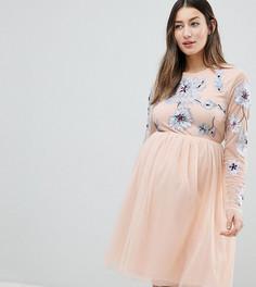 Платье мини из тюля с вышивкой ASOS DESIGN Maternity - Розовый