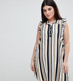 Платье-рубашка в полоску с оборками на плечах AX Paris Plus - Мульти
