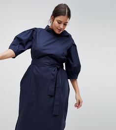 Платье миди с поясом ASOS WHITE CURVE - Темно-синий