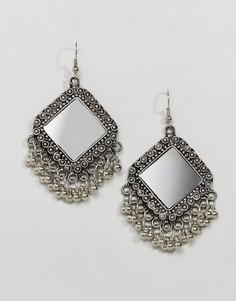 Серьги-подвески с зеркалом ASOS DESIGN - Серебряный