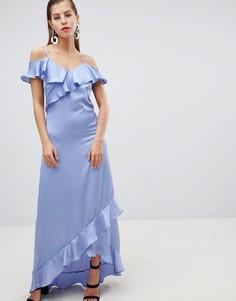 Атласное платье макси с открытыми плечами и оборками Y.A.S - Синий