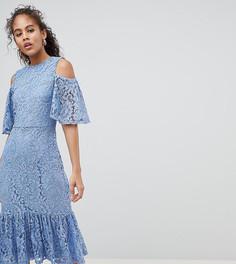 Кружевное платье миди с открытыми плечами Y.A.S Tall - Синий