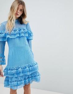 Короткое приталенное платье с многоярусным дизайном Y.A.S - Синий