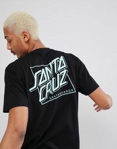 Черная футболка с принтом на спине Santa Cruz - Черный