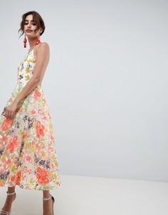 Платье миди для выпускного с цветочной вышивкой и халтером ASOS EDITION - Мульти