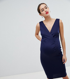 Платье миди с запахом Flounce London Maternity - Темно-синий