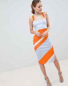 Облегающее платье миди в полоску ASOS DESIGN - Мульти