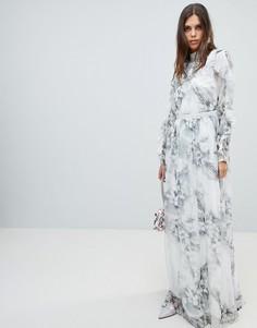 Мягкое платье макси с цветочным принтом и оборками на рукавах Y.A.S - Мульти