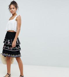 Ярусная мини-юбка с вышивкой ASOS DESIGN Tall - Черный