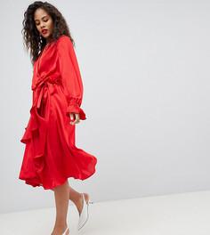 Атласное платье с запахом и оборками на юбке Y.A.S Tall - Красный